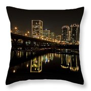 River City Lights At Night Throw Pillow by Tim Wilson