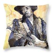 Rock Jimi Hendrix 01 Throw Pillow by Yuriy  Shevchuk