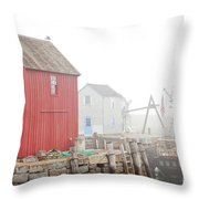 Rockport Fog Throw Pillow by Susan Cole Kelly