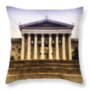Rocky On The Art Museum Steps Throw Pillow by Bill Cannon