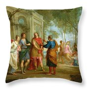 Roland Learns Of The Love Of Angelica And Medoro  Throw Pillow by Louis Galloche