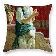 Roman Girl Throw Pillow by Guglielmo Zocchi