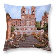 Rome-piazza Di Spagna Throw Pillow by Guido Borelli