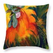 Rooster of Another Color Throw Pillow by Summer Celeste
