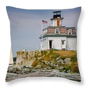 Rose Island Light Throw Pillow by Susan Cole Kelly