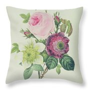 Rose Throw Pillow by Pierre Joseph Redoute