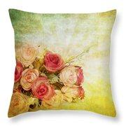 Roses Pattern Retro Design Throw Pillow by Setsiri Silapasuwanchai