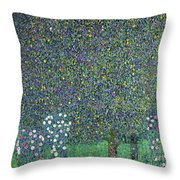 Roses Under The Trees Throw Pillow by Gustav Klimt