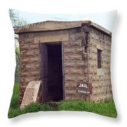 Route 66 - Texola Jail Throw Pillow by Frank Romeo