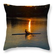 Rowing At Sunset 2 Throw Pillow by Bill Cannon