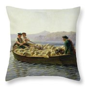 Rowing Boat Throw Pillow by Rosa Bonheur