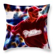 Roy Halladay Magic Baseball Throw Pillow by Paul Van Scott
