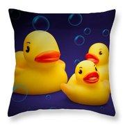 Rubber Duckies Throw Pillow by Tom Mc Nemar