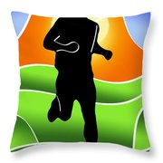 Run Throw Pillow by Stephen Younts