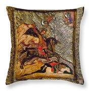 Russian Icon: Demetrius Throw Pillow by Granger