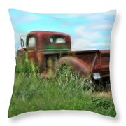 Rusted Not Retired Throw Pillow by Colleen Taylor
