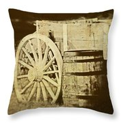 Rustic Wagon And Barrel Throw Pillow by Tom Mc Nemar
