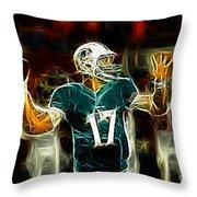 Ryan Tannehill - Miami Dolphin Quarterback Throw Pillow by Paul Ward