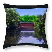 Sachs Covered Bridge In Gettysburg  Throw Pillow by Bill Cannon