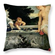Sacred And Profane Love Throw Pillow by Titian