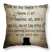 Said Abraham Lincoln Throw Pillow by Cinema Photography