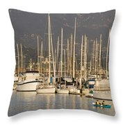 Sailboats Docked In The Santa Barbara Throw Pillow by Rich Reid