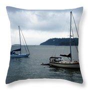 Sailboats In Bar Harbor Throw Pillow by Linda Sannuti