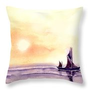 Sailing Throw Pillow by Anil Nene