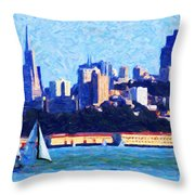 Sailing In The San Francisco Bay Throw Pillow by Wingsdomain Art and Photography