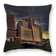 Sailing On The East River Throw Pillow by Chris Lord