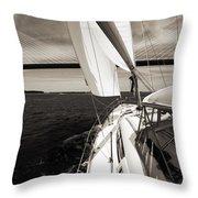 Sailing Under The Arthur Ravenel Jr. Bridge In Charleston Sc Throw Pillow by Dustin K Ryan