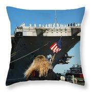 Sailors Aboard Aircraft Carrier Uss Throw Pillow by Stocktrek Images