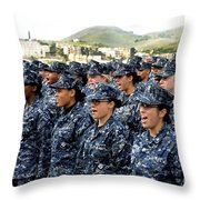 Sailors Yell Before An All-hands Call Throw Pillow by Stocktrek Images