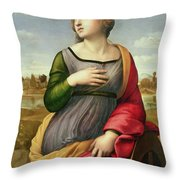 Saint Catherine of Alexandria Throw Pillow by Raphael