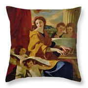 Saint Cecilia Throw Pillow by Nicolas Poussin