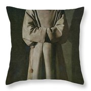 Saint Francis Throw Pillow by Francisco de Zurbaran