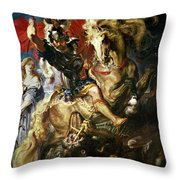 Saint George And The Dragon Throw Pillow by Peter Paul Rubens