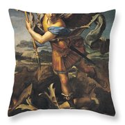 Saint Michael Overwhelming the Demon Throw Pillow by Raphael