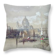 Saint Pauls from the River Throw Pillow by David Roberts