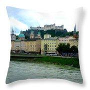 Salzburg Over The Danube Throw Pillow by Carol Groenen