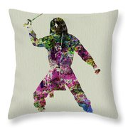 Samurai With A Sword Throw Pillow by Naxart Studio