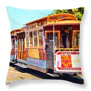 San Francisco Cablecar At Fishermans Wharf . 7d14097 Throw Pillow by Wingsdomain Art and Photography