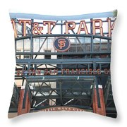 San Francisco Giants ATT Park Willie Mays Entrance . 7D7635 Throw Pillow by Wingsdomain Art and Photography