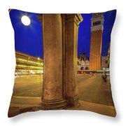 San Marco At Night Throw Pillow by Inge Johnsson
