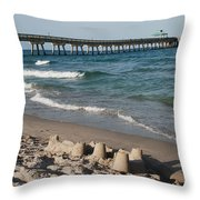 Sand Castles And Piers Throw Pillow by Rob Hans