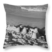 SAND CASTLES BY THE SHORE Throw Pillow by ROB HANS