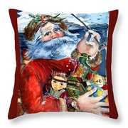 Santa Throw Pillow by Mindy Newman