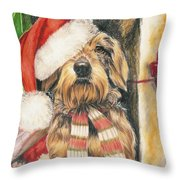 Santas Little Yelper Throw Pillow by Barbara Keith
