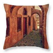 Santorini Courtyard Throw Pillow by Sandra Bronstein