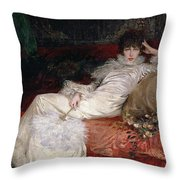 Sarah Bernhardt Throw Pillow by Georges Clairin